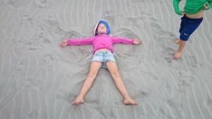 Jag gjorde snöänglar i sanden